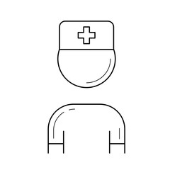 Nurse vector line icon isolated on white background. Nurse, doctor line icon for infographic, website or app. Icon designed on a grid system.