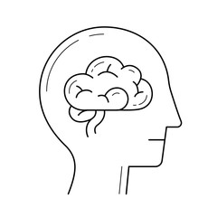 Human head with brain vector line icon isolated on white background. Brain, mind line icon for infographic, website or app. Icon designed on a grid system.