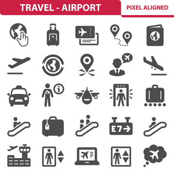 Travel & Airport Icons. Professional, pixel perfect icons depicting various travel and airport concepts. EPS 8 format.