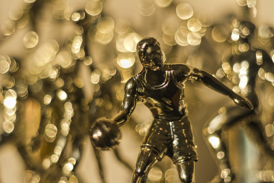 Golden Sport Trophies with Selective Focus