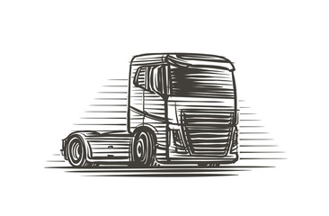 Truck without trailer illustration. Vector.
