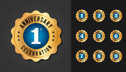 Set of anniversary badges. Golden anniversary celebration emblem design for booklet, leaflet, magazine, brochure poster, web, invitation or greeting card.