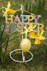 Vertical image: Happy Easter sign, festive yellow egg and spring flowers daffodils are in a garden on the green grass.
