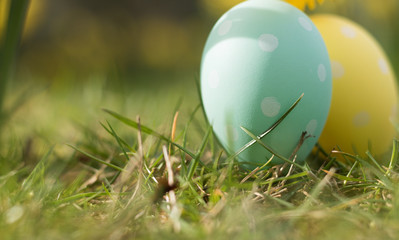 Close-up: two Easter eggs are on a natural green grass on a sunny day. Eggs have a polka dot pattern and bright blue and yellow colors. It is a symbol of spring holiday of the Great Easter.