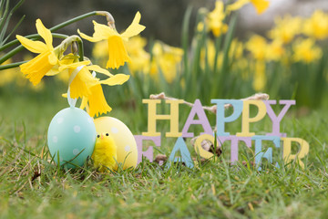 Easter festive decorations are in a spring garden with the blooming yellow flowers of daffodils. Happy Easter!