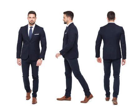 Young stylish businessman front rear side view isolated