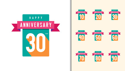 Set of anniversary logotype. Colorful anniversary celebration icons design for booklet, leaflet, magazine, brochure poster, web, invitation or greeting card.