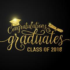 Vector on black graduations background congratulations graduates 2018 class