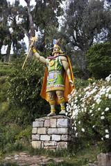 Inca warrior statue at Isla del sol in Bolivia