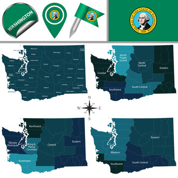 Map of Washington with Regions