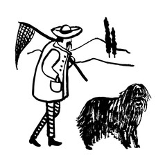 drawing of a funny cartoon comic picture full of an old man an Italian fisherman with a mustache goes home with his dog, a sketch, a hand-drawn vector illustration