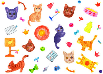 Pattern with cats. Watercolor illustration. A funny pattern with seals. Drawing for wrapping paper, print for pajamas, briefs, socks, passport covers.