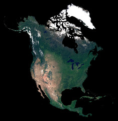 Isolated on black background silhouette map of North America continent. Satellite photo of North America (United States, Canada, Mexico countries). Earth from space.