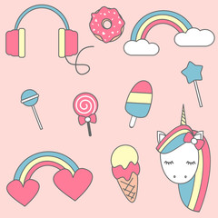 Set of fashion colorful patches, cute pastel badges, fun cartoon icons design vector