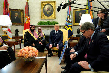 Trump welcomes Saudi Arabia's Crown Prince Mohammed bin Salman in the Oval Office at the White House in Washington