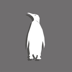 Penguin. White vector icon with shadow on gray background.