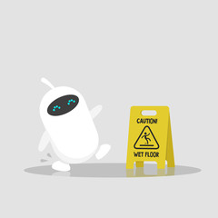 Caution, wet floor. Cute white robot slipped on a wet surface. Falling down. Flat editable vector illustration, clip art