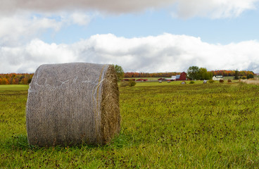 barn and hay bale