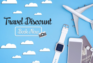 Travel discount book now blue sky poster for webpage