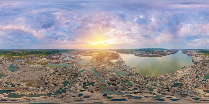 Sam Phan Bok Landmark Nature Travel Place of Ubon Ratchathani, Thailand (Full VR 360 Degree Aerial Panorama Seamless)