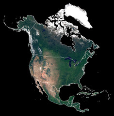 Isolated on black background silhouette map of North America continent. Satellite photo of North America (United States, Canada, Mexico countries) with country borders. Earth from space.