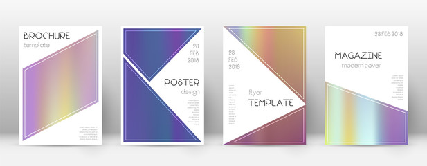 Flyer layout. Triangle stunning template for Brochure, Annual Report, Magazine, Poster, Corporate Presentation, Portfolio, Flyer. Beautiful bright hologram cover page.