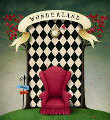 Conceptual fantasy background  for illustration or poster with  wall Wonderland.