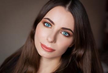 Face, blue eyes,  smile, beige background