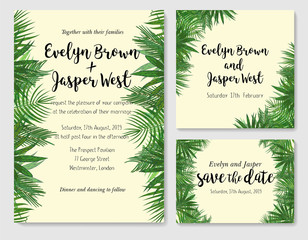 Wedding invite, invitation rsvp thank you card vector floral greenery design: beautiful leaves of the sago, kentia, areca, coconut, foliage herbs. Watercolor cute set