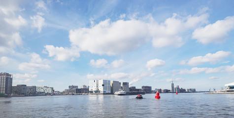 Poster Channel Amsterdam modern water canal of Haarlemmerbuurt Westelijke Eilanden cityscap skyline