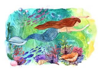 Hand drawn beautiful illustration watercolor mermaid