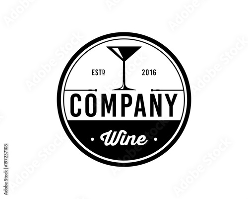 Vector Wine Glass Sign Symbol Icon Logo Vintage Circle