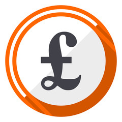 Pound orange flat design vector web icon