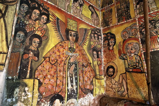 : iconographic scenes and wall murals of saints painted in naive african christian style in Maryam Papasetti church