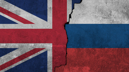 flag of England and Russian painted on the wall.
