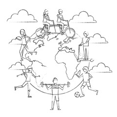 people around the world making exercise sport activity vector illustration sketch design