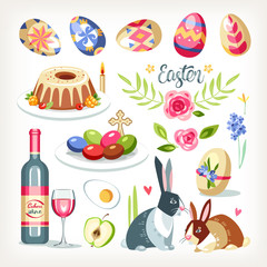 Easter collection set with traditional easter objects sacred food aminals drink cakes eggs