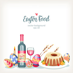 Easter horizontal festive food background with traditional easter eggs and cakes willow and wine lying on the table