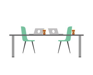 table chairs laptop computers and disposable coffee cups vector illustration