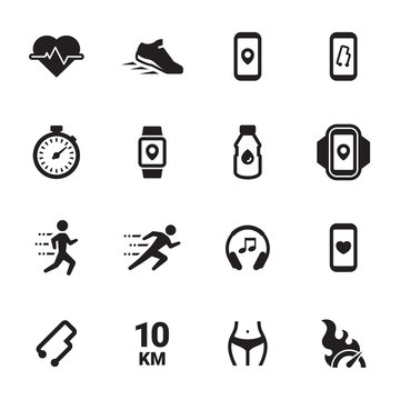 Jogging, running people icons set