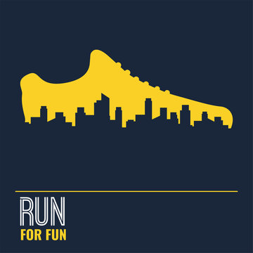 Vector poster - running, sport shoe and the city outline