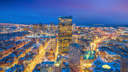 Fotomurales - Aerial view of Boston in Massachusetts, USA at night