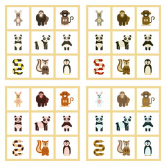 assembly flat icons nature Panda monkey rabbit snake squirrel penguins