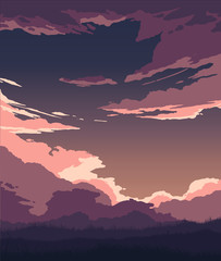 illustration of flat colored clouds and grass