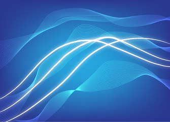 Abstract composition of white lines on a blue background.