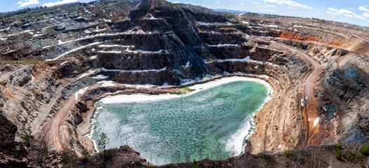 Panorama of a flooded quarry Wall mural
