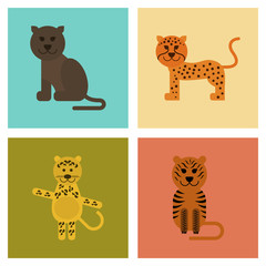 assembly flat icons nature cartoon panther tiger leopard
