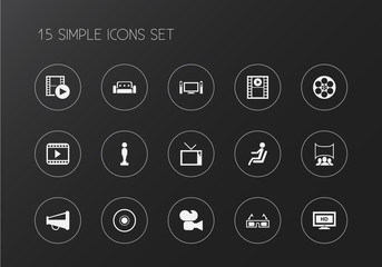 Set of 15 editable movie icons. Includes symbols such as megaphone, camera strip, sofa and more. Can be used for web, mobile, UI and infographic design.