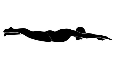vector image of a female swimmer's silhouette in water.
