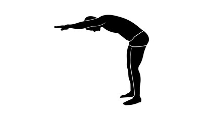 vector image silhouette swimmer side view
